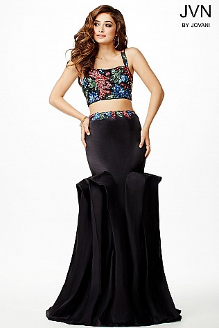 Black Multi Two-Piece Prom Dress JVN33364