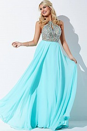 Mint Embellished Halter Prom Dress JVN37188