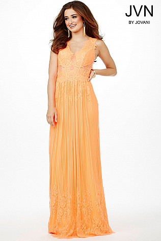 Orange Pleated Sleeveless Dress JVN22238