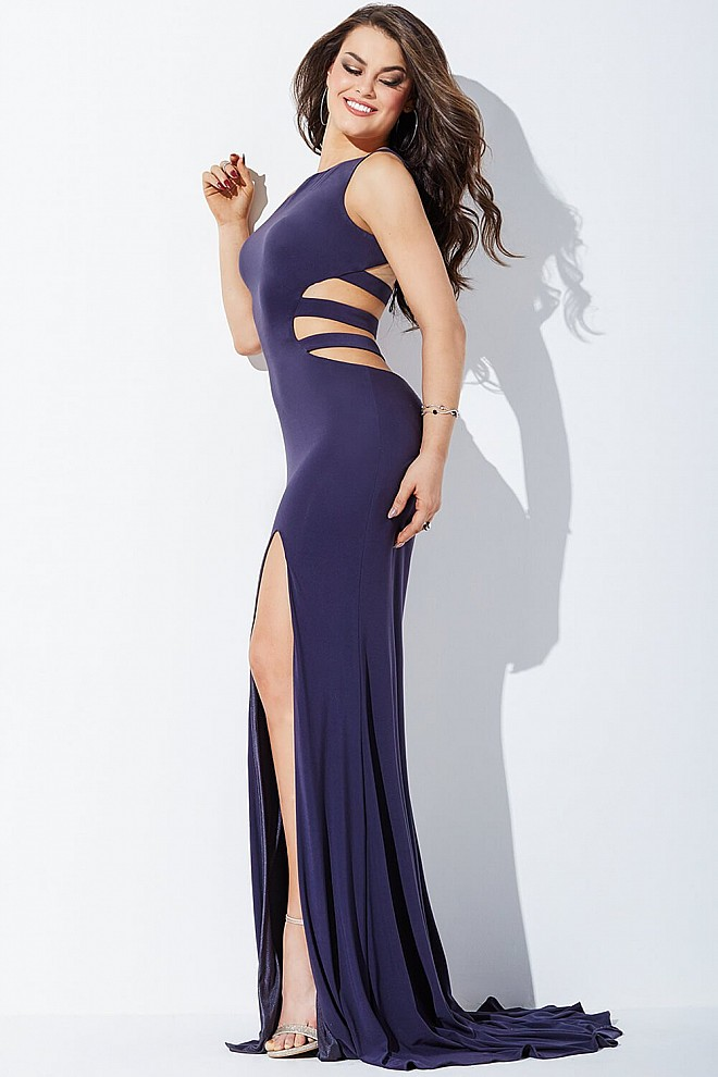 Grey Cutout High Slit Prom Dress JVN36715