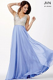 Periwinkle Chiffon Long Bridesmaid Dress JVN20437