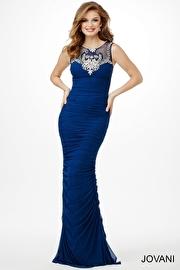 Blue Sleeveless Ruched Dress JVN20930