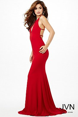 Red Fitted Halter Dress JVN21053