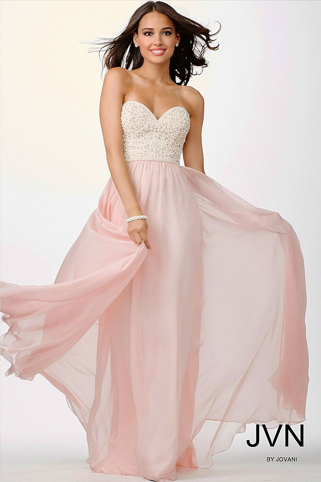 Pink Pearl Embellished Dress JVN21224