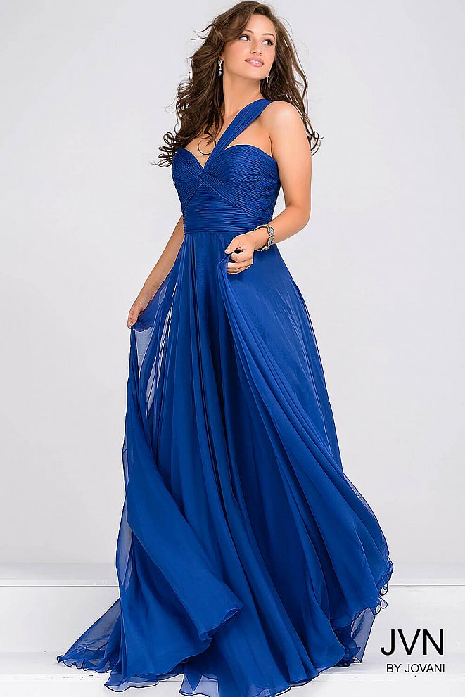 Royal Blue Ruched Bodice Chiffon Prom Dress JVN22066