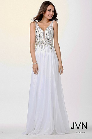 White Crystal Embellished Dress JVN22241