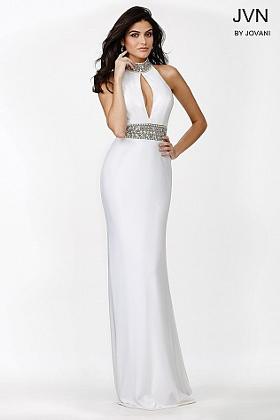 White Jeweled High Neckline Dress JVN22328