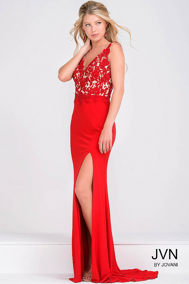 Lace Top Red High Slit Prom Dress JVN22426