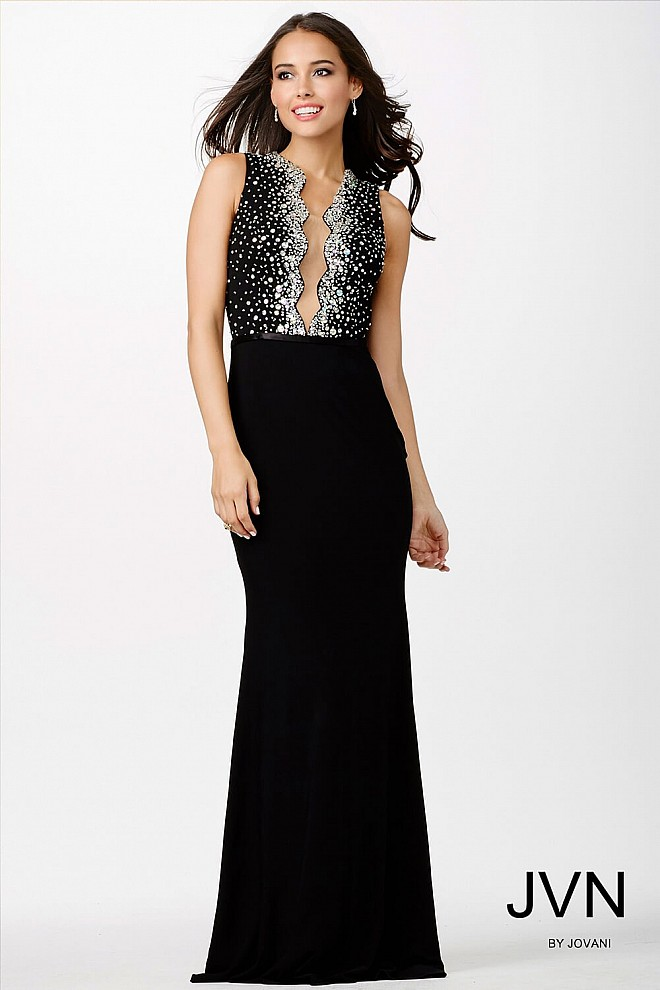 Black Crystal Embellished Dress JVN22449
