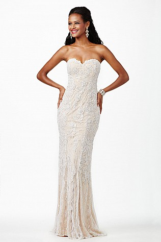 White Lace Strapless Dress JVN22457