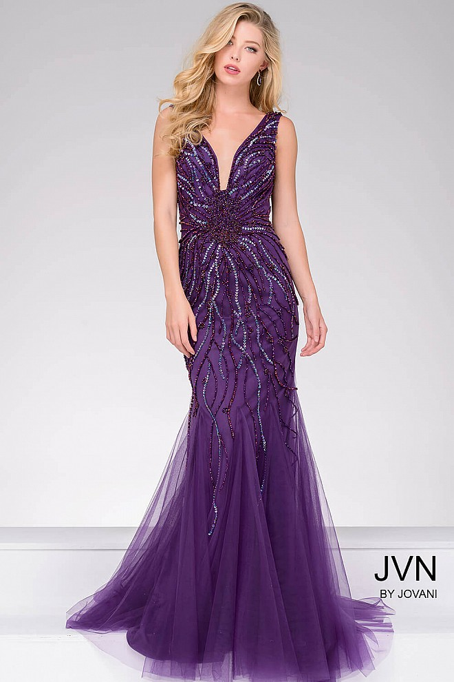 Purple tulle fully embellished mermaid long dress with sexy open back.