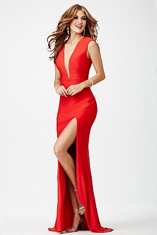 Red Plunging Neckline Prom Dress JVN22575