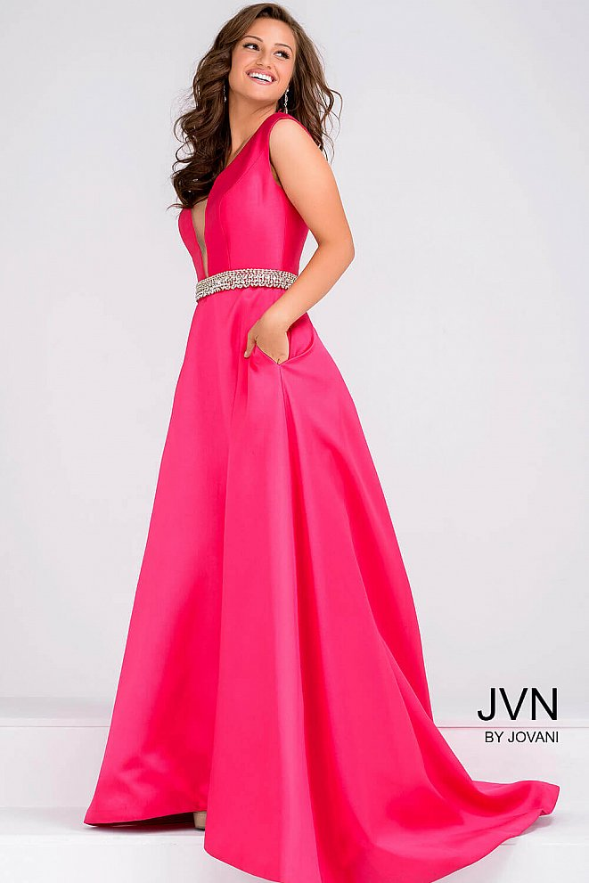 Fuchsia Embellished Silver Belt Bridesmaid Dress JVN22632