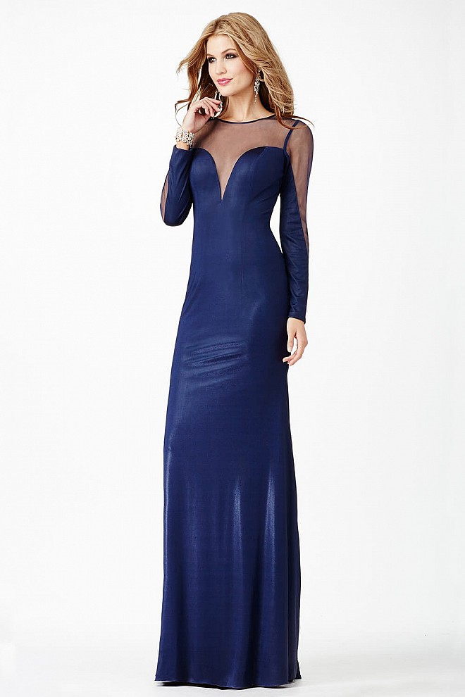 Navy sheer neckline long sleeves dress fit fully lined prom dress.