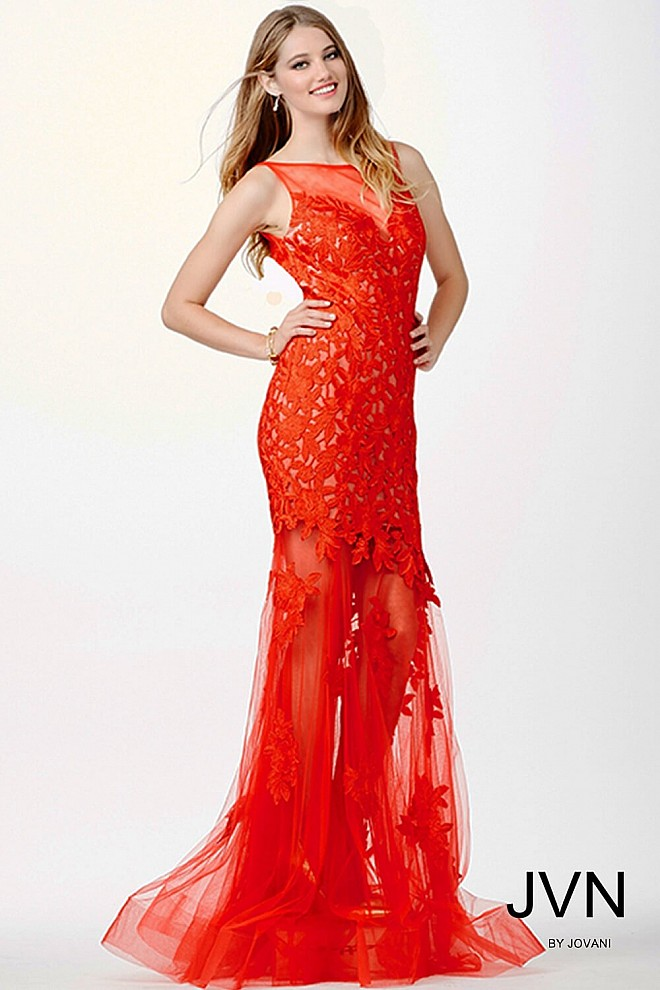 Red Sleeveless Long Prom Dress JVN23109