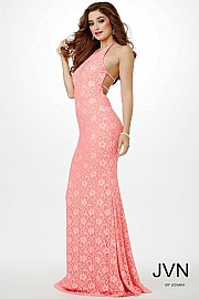 Pink Lace Halter Prom Dress JVN23175