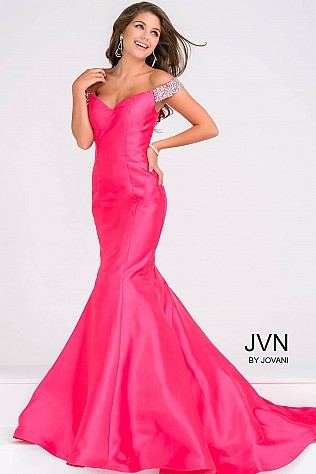 Fuchsia Mermaid Fitted Prom Dress  JVN23455