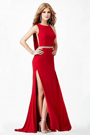 Red Drape Back Prom Dress JVN23907