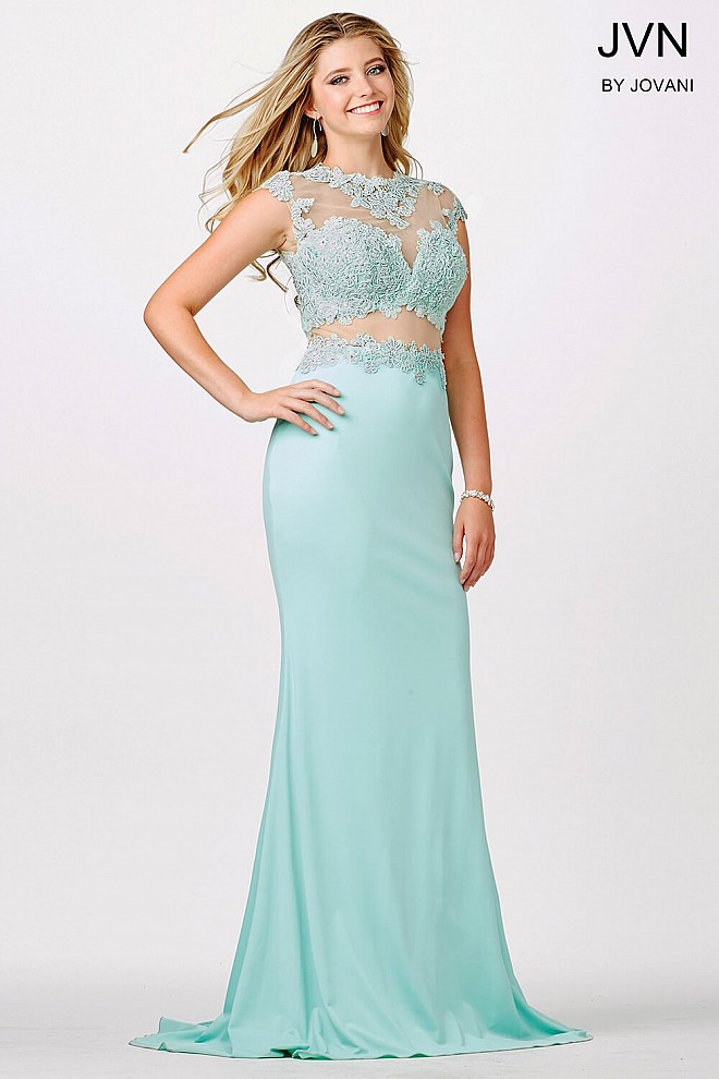 Mint Cap Sleeve Fitted Dress JVN24404