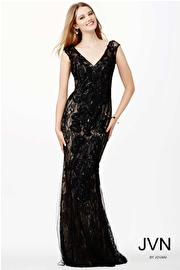 Black V-Neckline Evening Dress JVN24427
