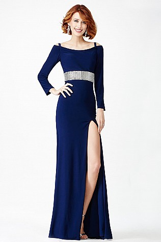 Blue Off the Shoulder Prom Dress JVN24744