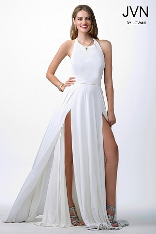 White High Slit Prom Dress JVN24953