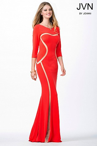 Coral Three Quarter Sleeve Fitted Dress JVN25138