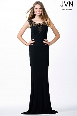 Black Sheer Neckline Fitted Dress JVN25407