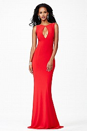 Red Sleeveless Fitted Dress JVN25409