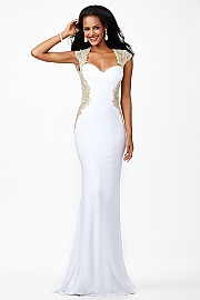 White Jersey Prom Dress JVN25411