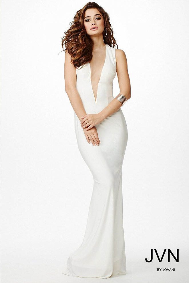 Ivory Jersey Sleeveless Dress JVN26412