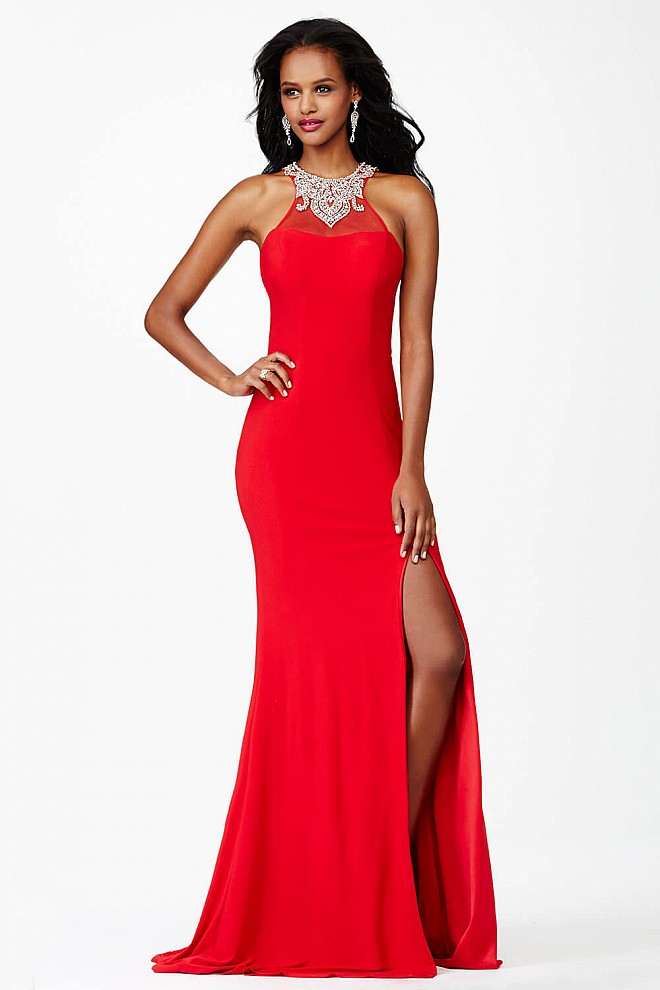Red Fitted Jersey Dress JVN26665