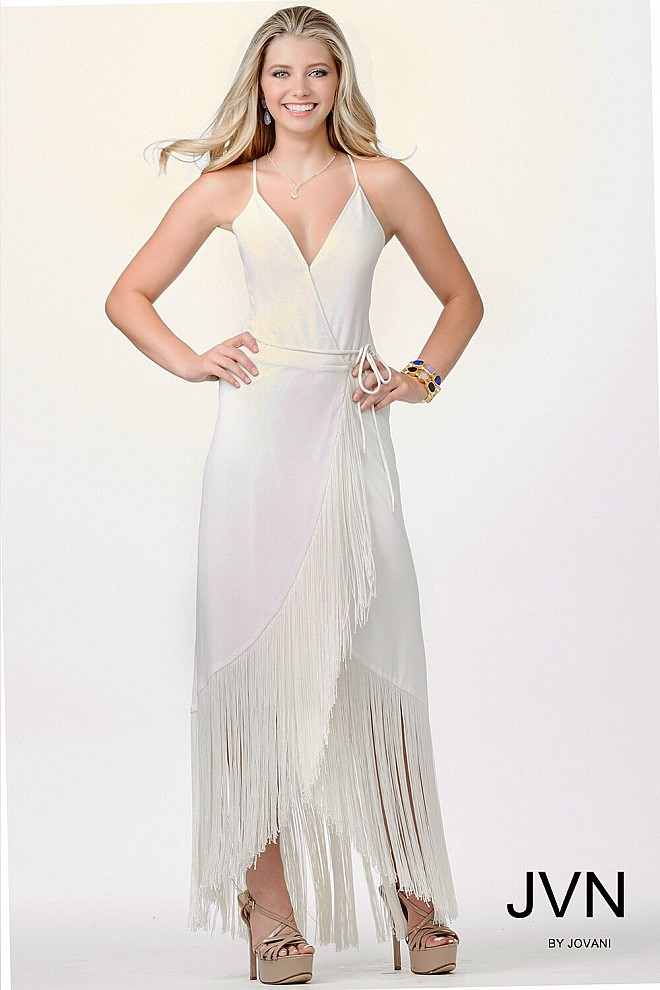 Ivory Sleeveless Fringe Dress JVN26708