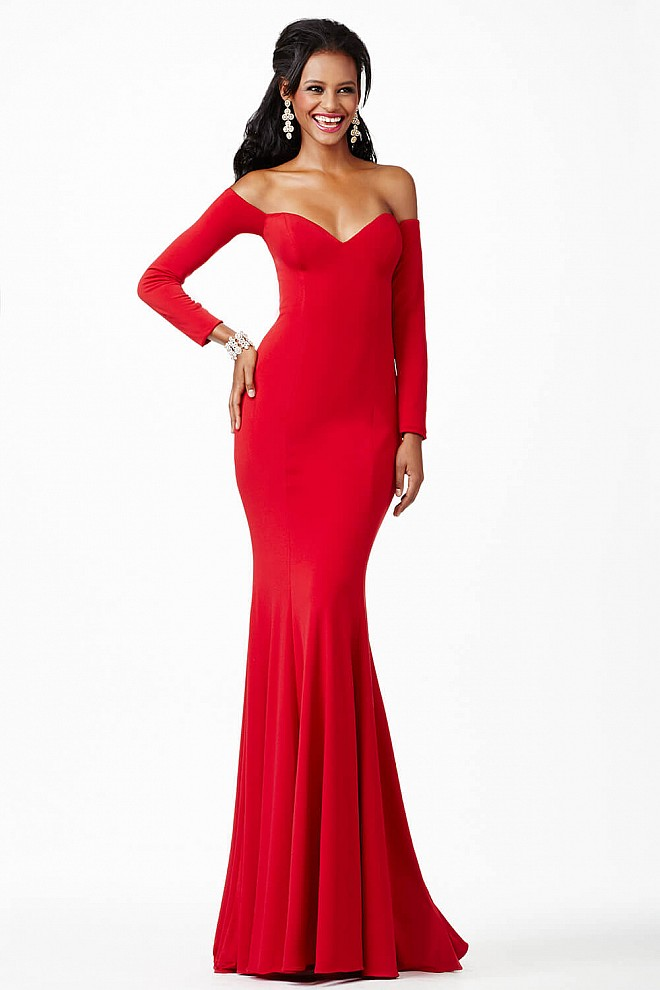 Red Long Sleeve Prom Dress JVN26728