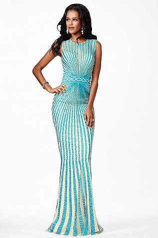 Turquoise Open Back Sleeveless Dress JVN26843