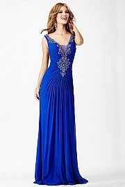 Blue Ruched Prom Dress JVN26975