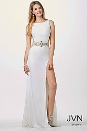 White Sleeveless Prom Dress JVN27113