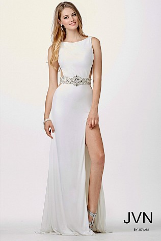 White Sleeveless Prom Dress JVN27113