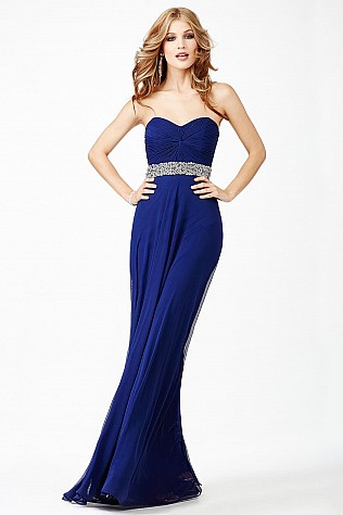 Navy Empire Waist Prom Dress JVN27139