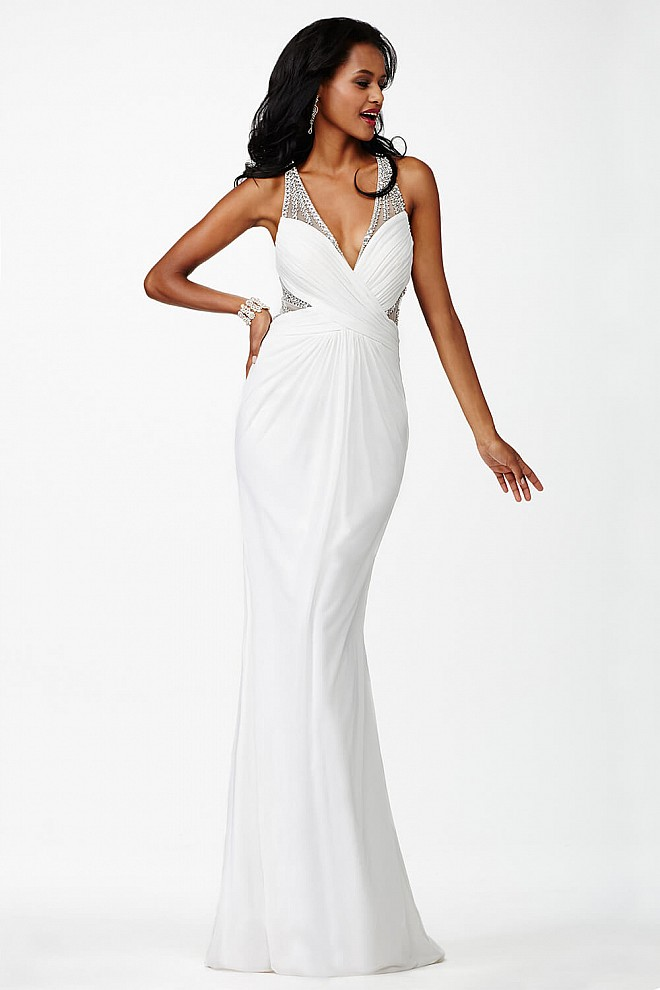 White Plunging Neckline Dress JVN27558