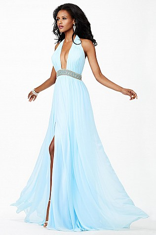 Blue Chiffon Prom Dress JVN27594