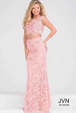 Sleeveless Two Piece Fitted Lace Dress JVN27618