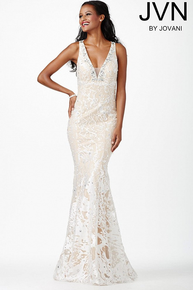White Lace Sleeveless Prom Dress JVN27623