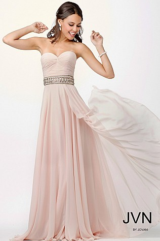 Pink Flowy Strapless Prom Dress JVN27761