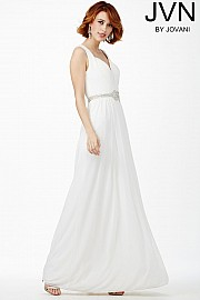 White Sleeveless Prom Dress JVN27804