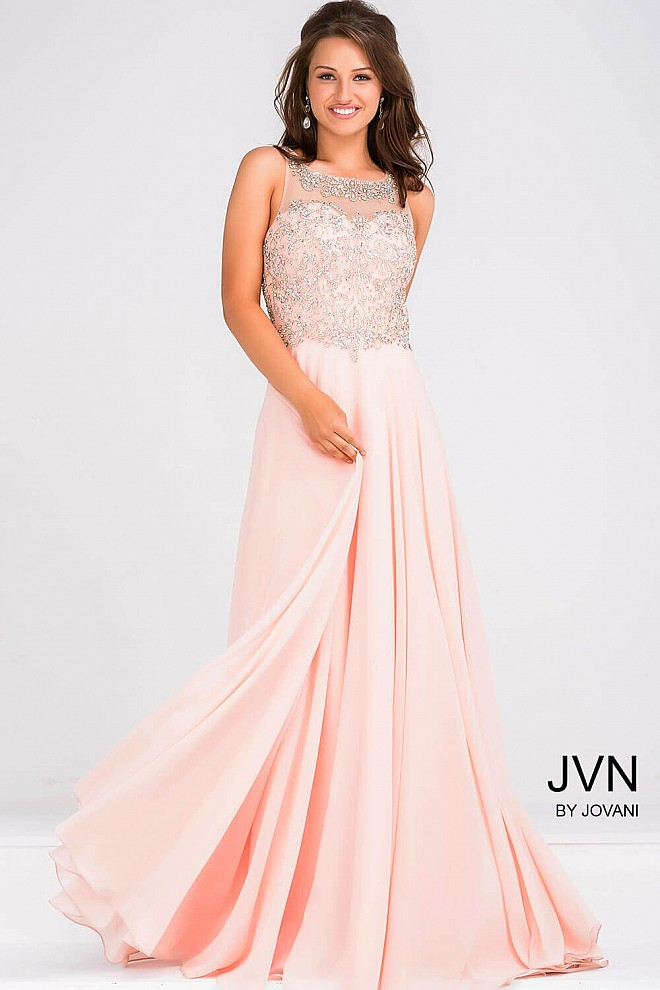 Peach Crystal Embellished Chiffon Dress JVN27809