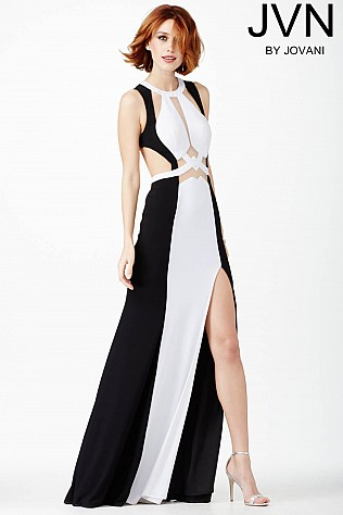 Black and White Cut Out Dress JVN27937