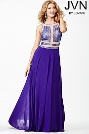 Purple Sleeveless Prom Dress JVN28064
