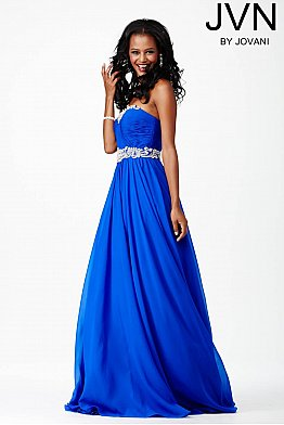 Blue Strapless Stretch Mesh Dress JVN28801