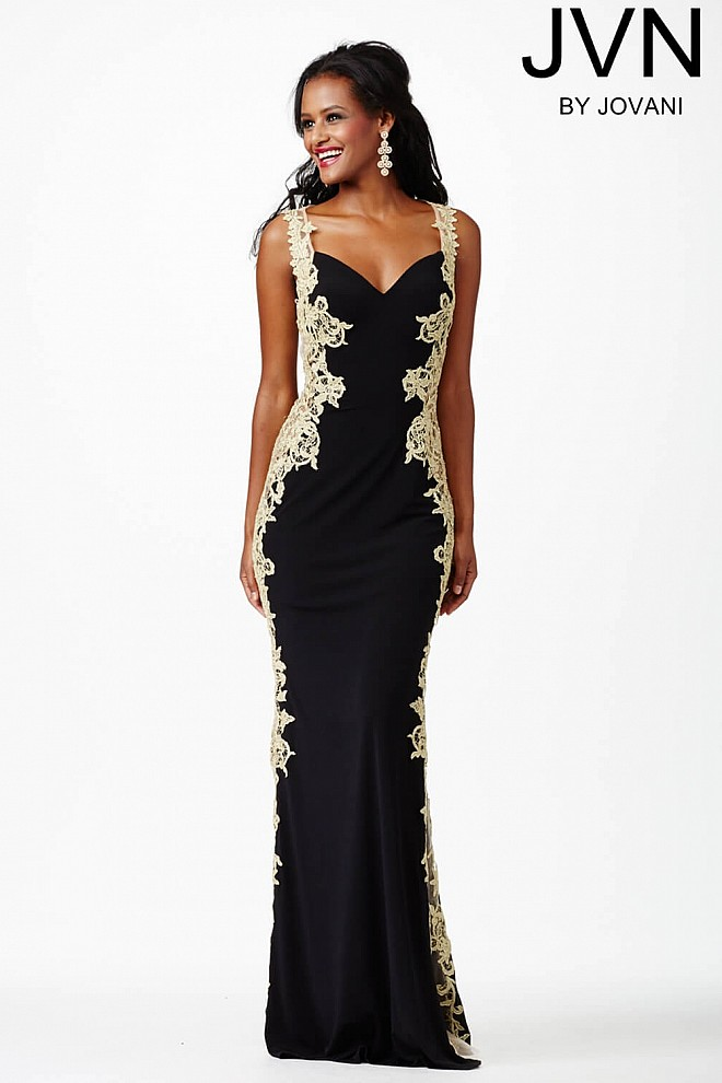 Black Jersey Gown JVN29102